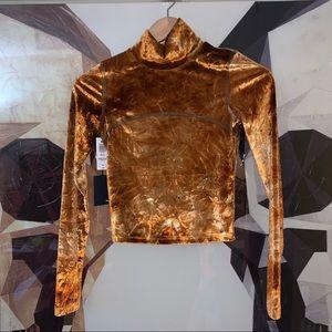 Aritzia Wilfred Free Moon Turtleneck orange velvet